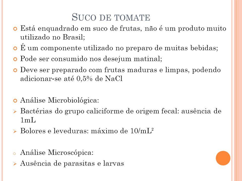 Suco de tomate Está enquadrado em suco de frutas, não é um produto muito utilizado no Brasil;