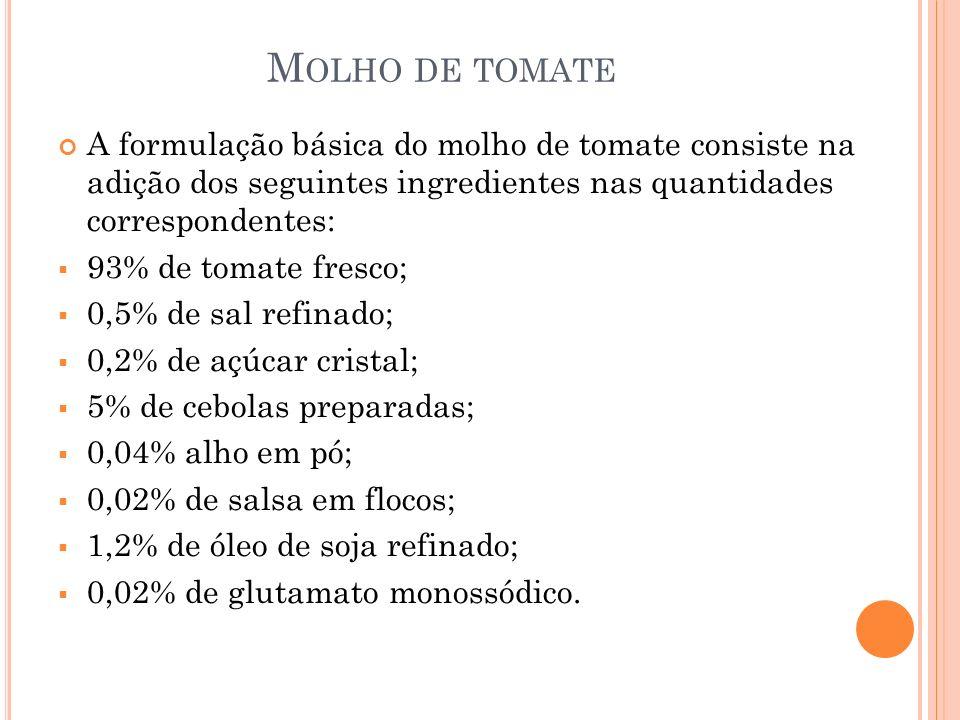 Molho de tomate A formulação básica do molho de tomate consiste na adição dos seguintes ingredientes nas quantidades correspondentes: