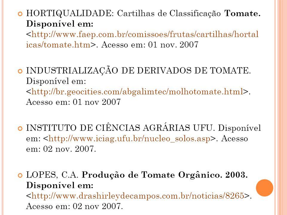 HORTIQUALIDADE: Cartilhas de Classificação Tomate