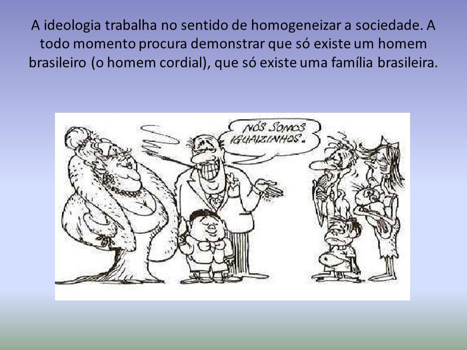 A ideologia trabalha no sentido de homogeneizar a sociedade