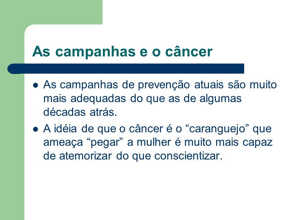 As campanhas e o câncer As campanhas de prevenção atuais são muito mais adequadas do que as de algumas décadas atrás.