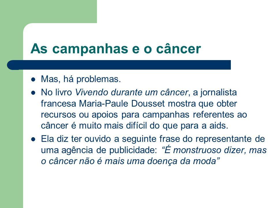 As campanhas e o câncer Mas, há problemas.