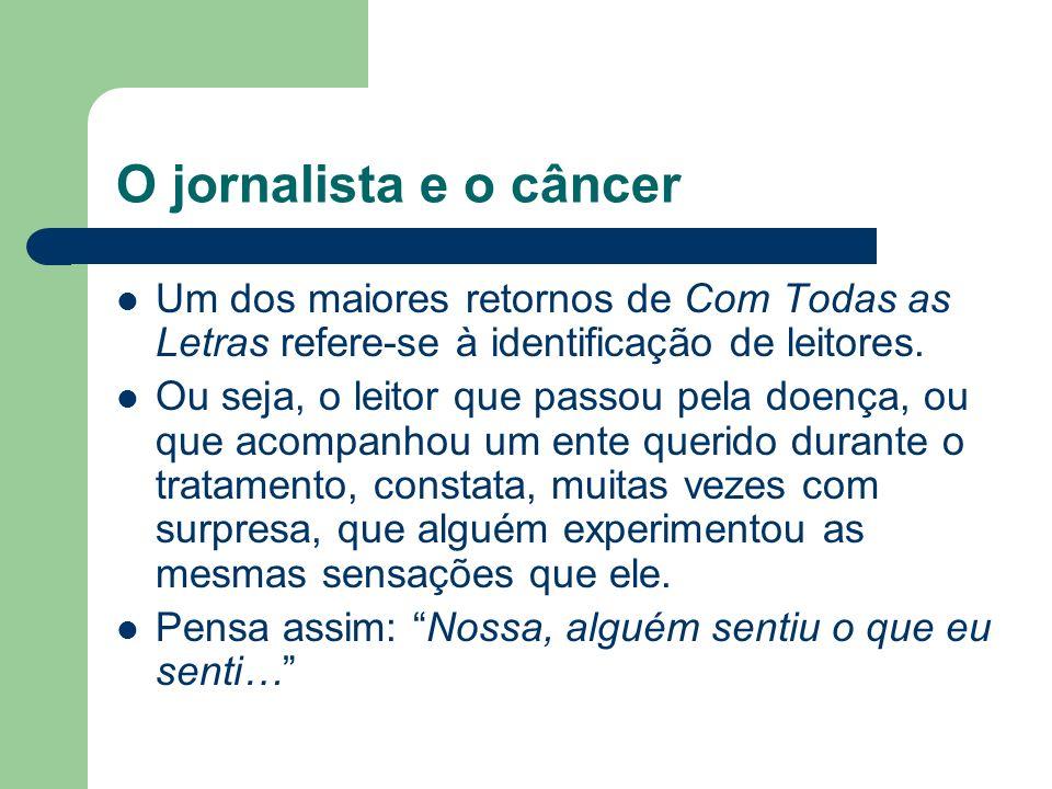 O jornalista e o câncer Um dos maiores retornos de Com Todas as Letras refere-se à identificação de leitores.