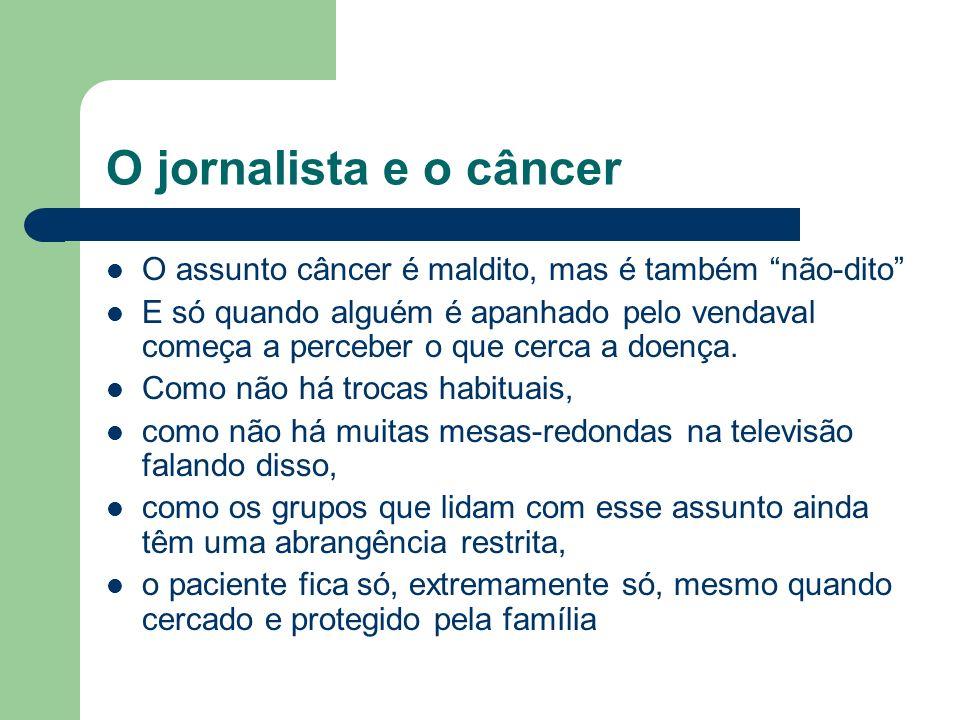 O jornalista e o câncer O assunto câncer é maldito, mas é também não-dito