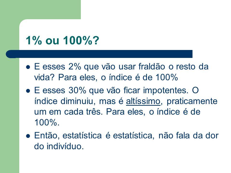 1% ou 100% E esses 2% que vão usar fraldão o resto da vida Para eles, o índice é de 100%