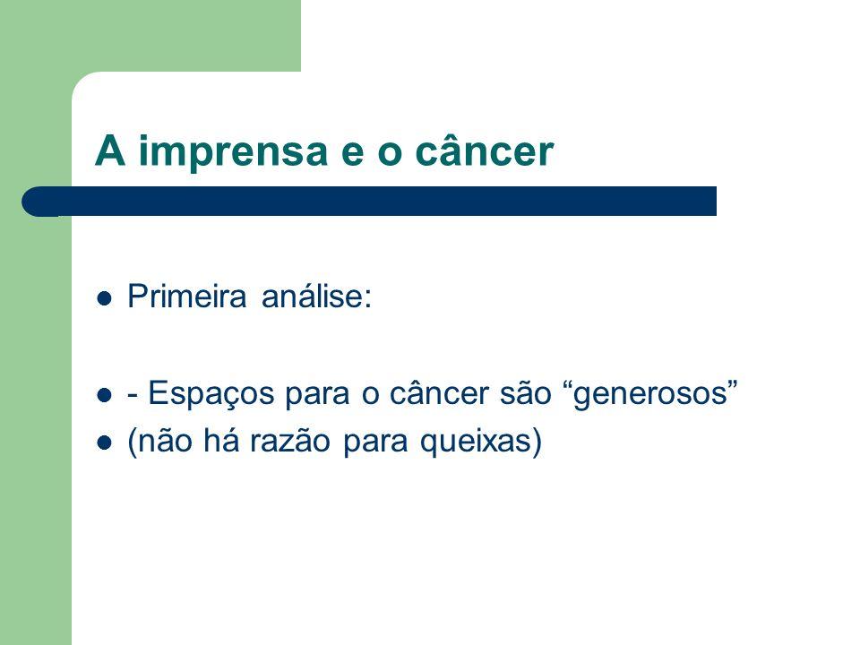 A imprensa e o câncer Primeira análise: