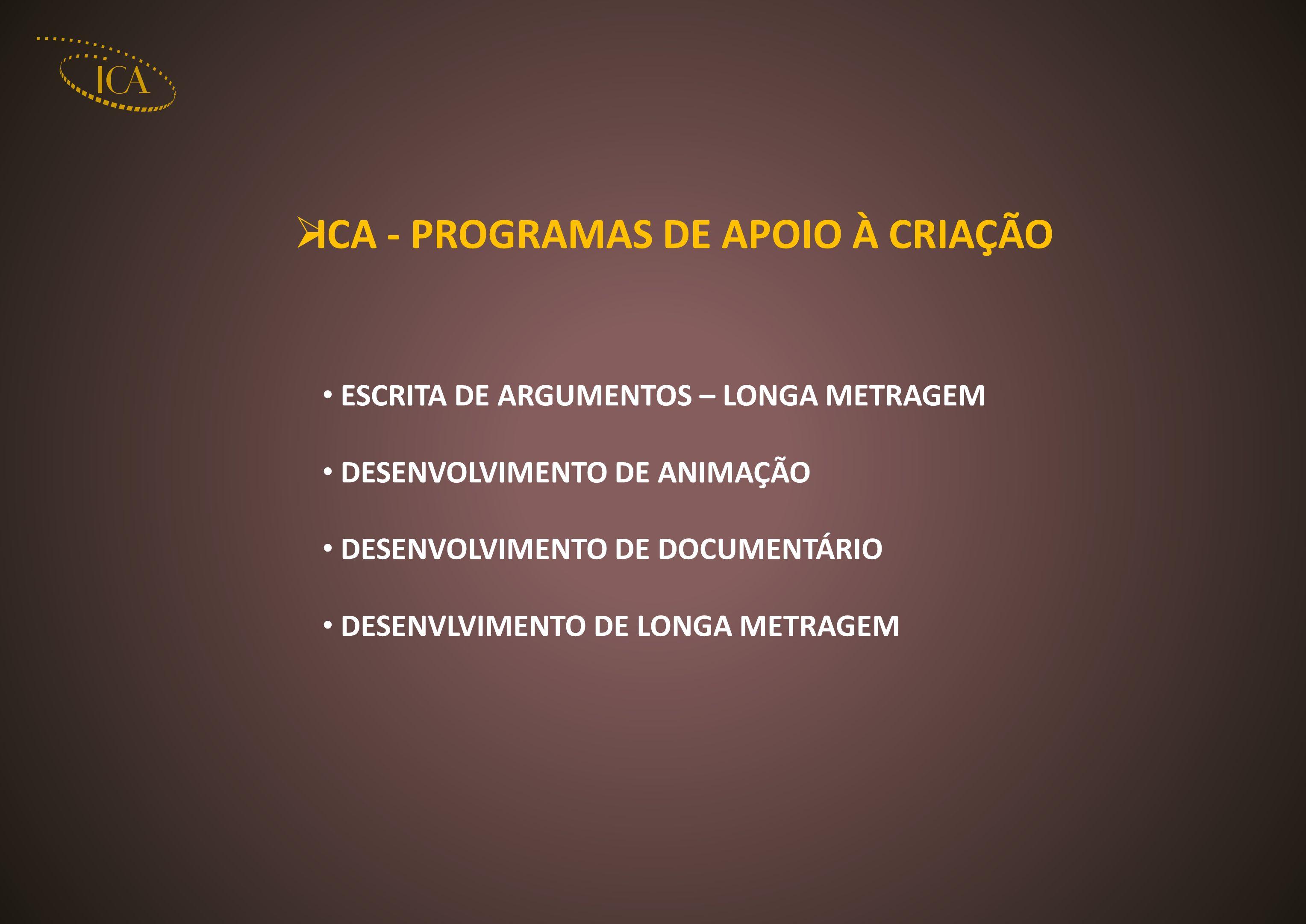 ICA - PROGRAMAS DE APOIO À CRIAÇÃO