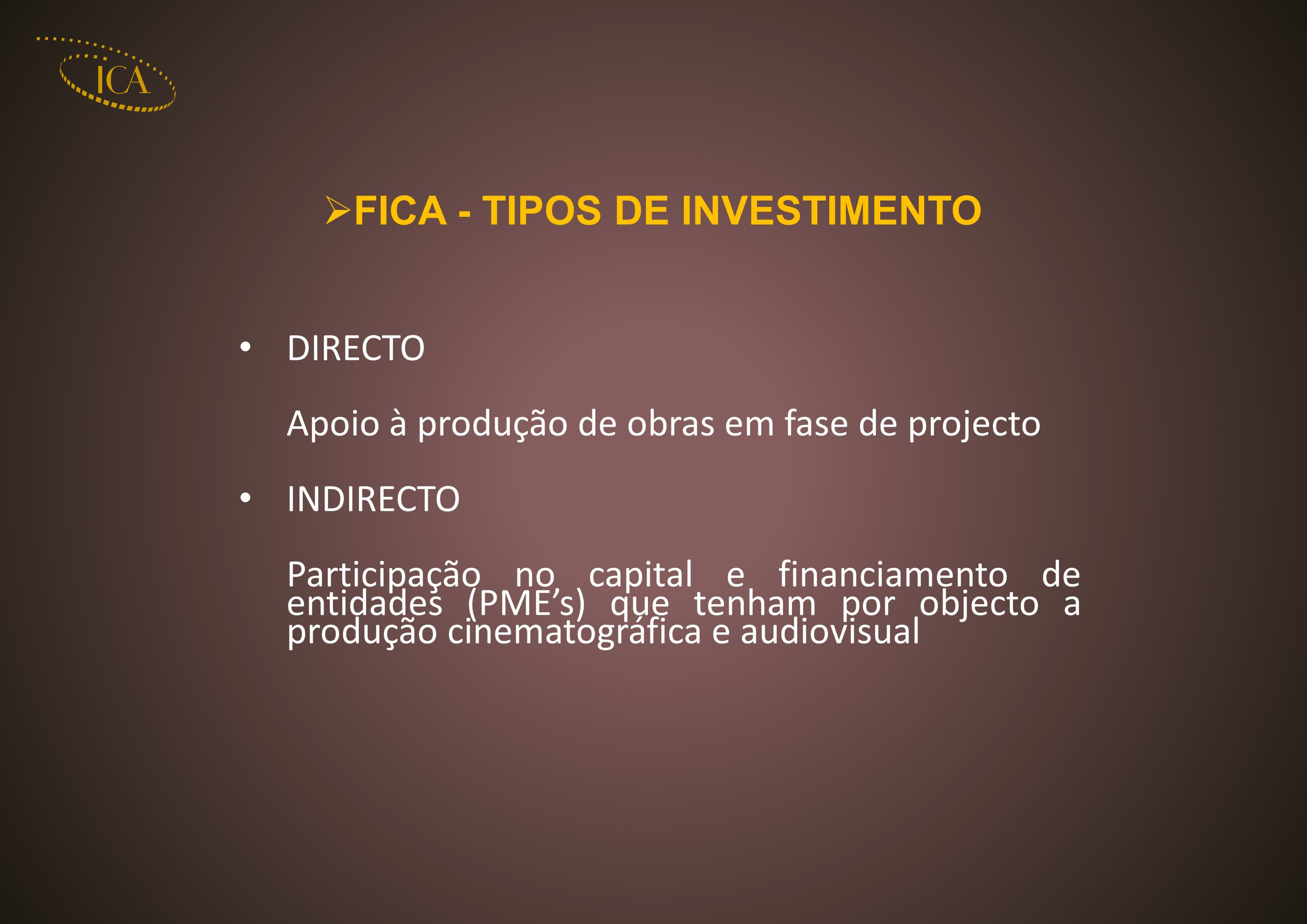 FICA - TIPOS DE INVESTIMENTO