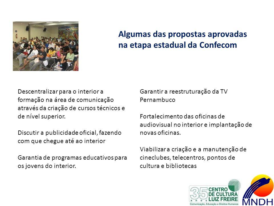 Algumas das propostas aprovadas na etapa estadual da Confecom