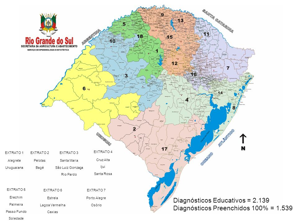 Diagnósticos Educativos = 2.139 Diagnósticos Preenchidos 100% = 1.539