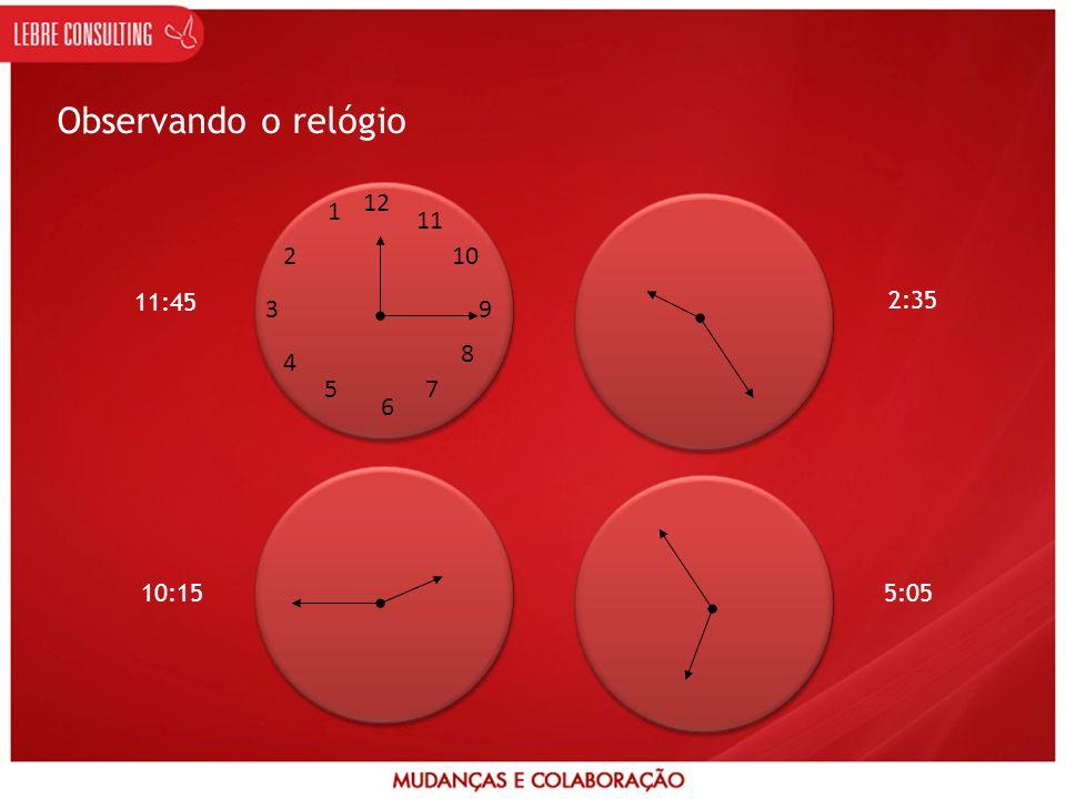 Observando o relógio 12 6 3 9 1 2 4 5 7 8 10 11 11:45 2:35 10:15 5:05