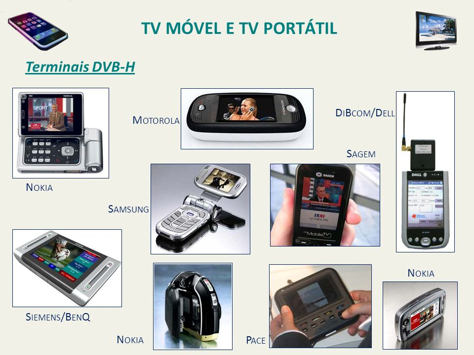 TV MÓVEL E TV PORTÁTIL Terminais DVB-H DiBcom/Dell Motorola Sagem
