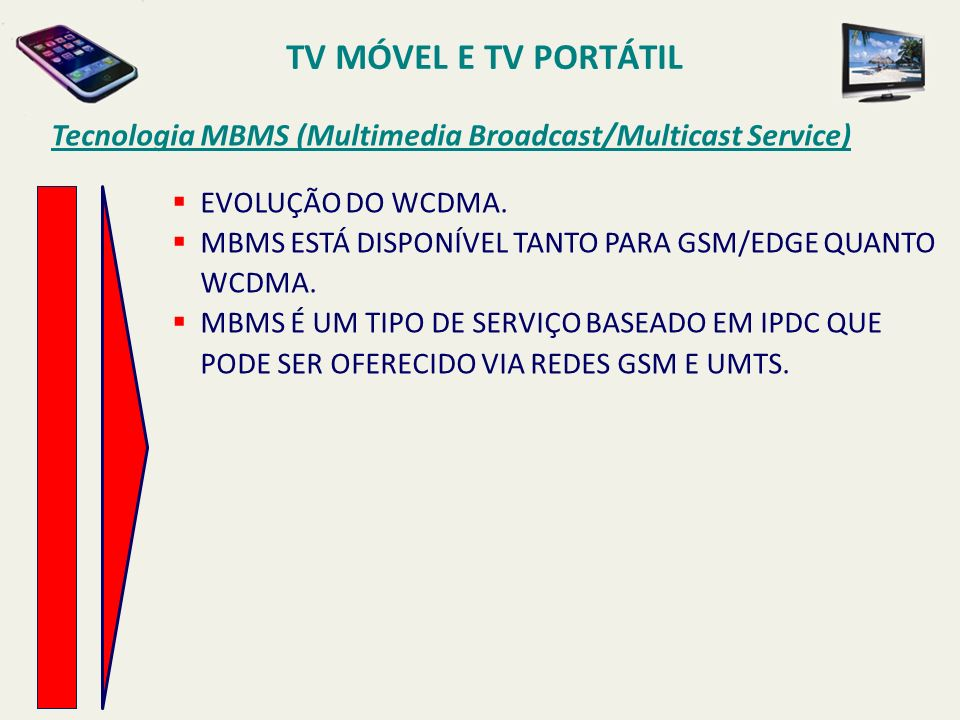 TV MÓVEL E TV PORTÁTIL Tecnologia MBMS (Multimedia Broadcast/Multicast Service) EVOLUÇÃO DO WCDMA.
