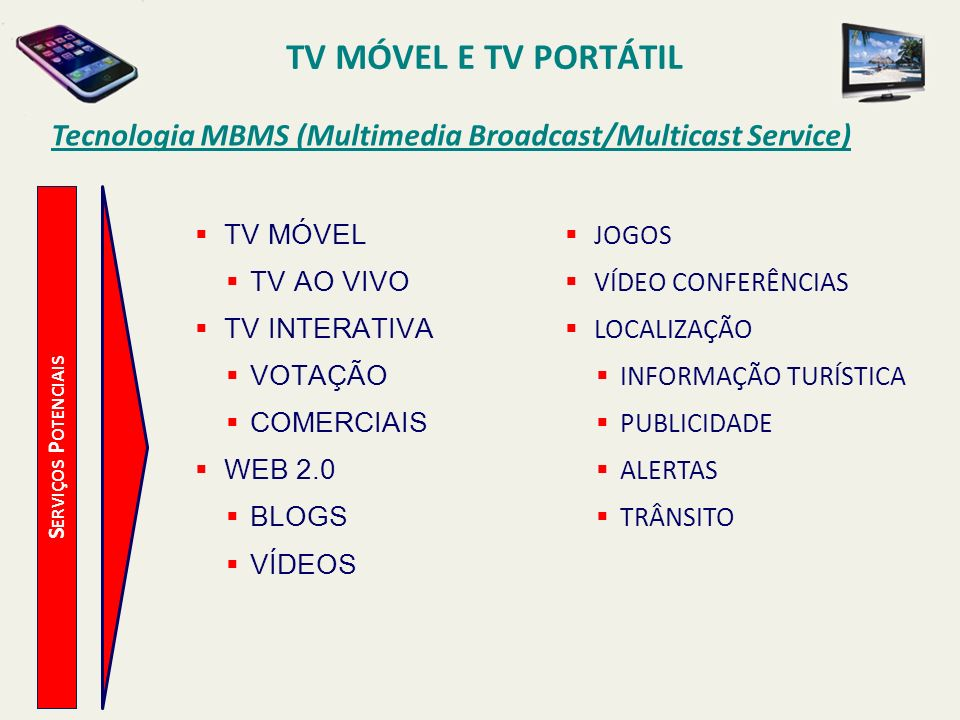 TV MÓVEL E TV PORTÁTIL Tecnologia MBMS (Multimedia Broadcast/Multicast Service) TV MÓVEL. TV AO VIVO.