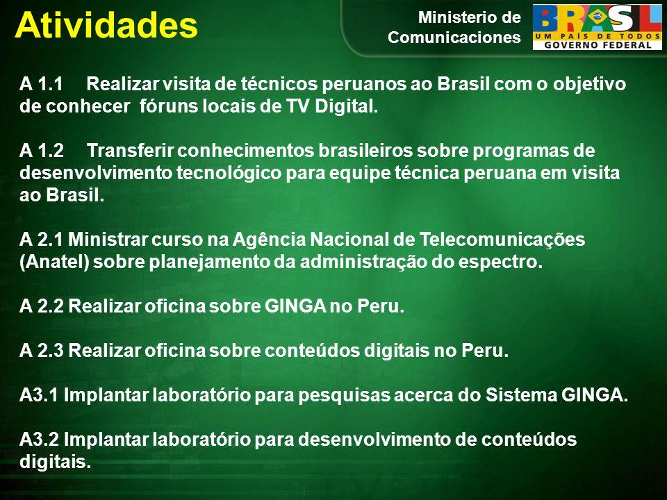 Atividades A 1.1 Realizar visita de técnicos peruanos ao Brasil com o objetivo de conhecer fóruns locais de TV Digital.