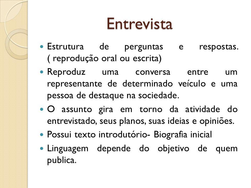 Entrevista Estrutura de perguntas e respostas. ( reprodução oral ou escrita)