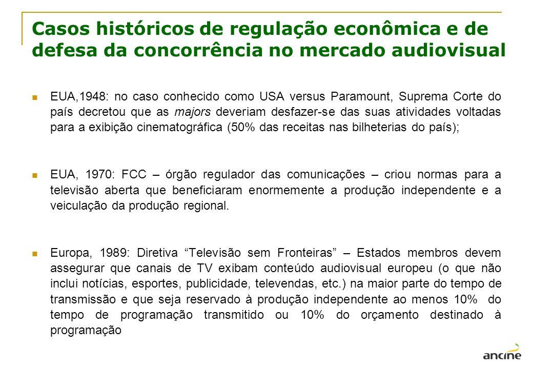 Casos históricos de regulação econômica e de defesa da concorrência no mercado audiovisual