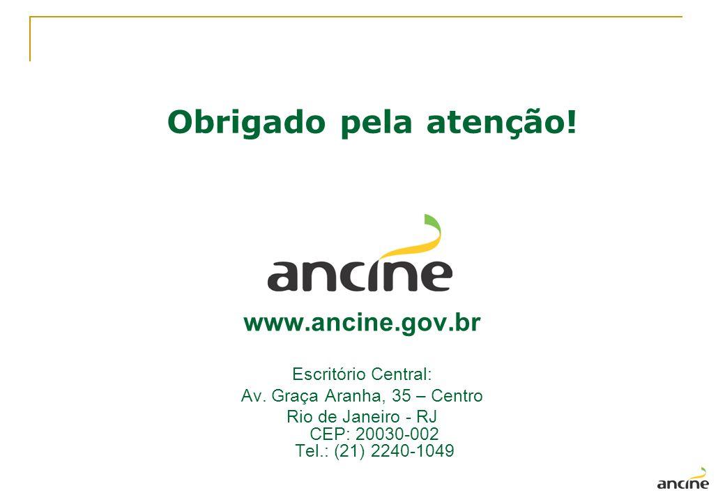 Obrigado pela atenção! www.ancine.gov.br Escritório Central: