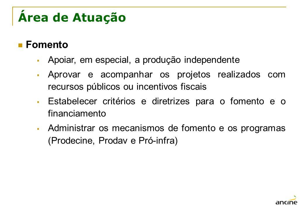 Área de Atuação Fomento Apoiar, em especial, a produção independente