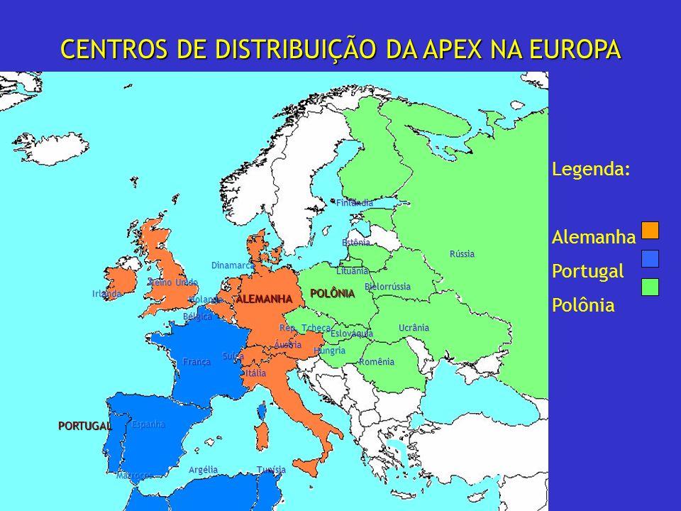 CENTROS DE DISTRIBUIÇÃO DA APEX NA EUROPA