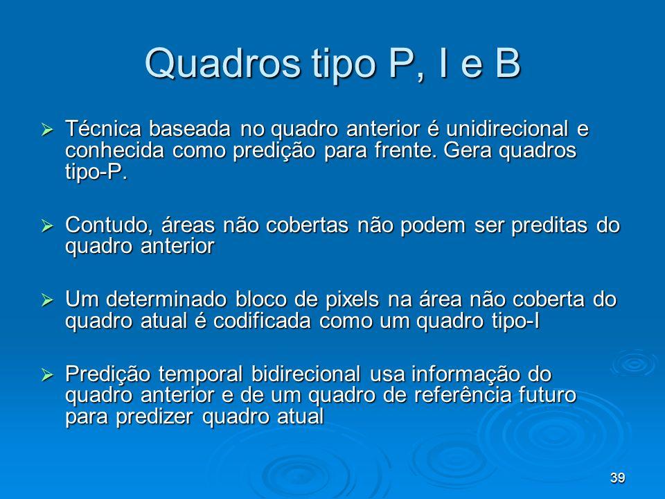 Quadros tipo P, I e B Técnica baseada no quadro anterior é unidirecional e conhecida como predição para frente. Gera quadros tipo-P.