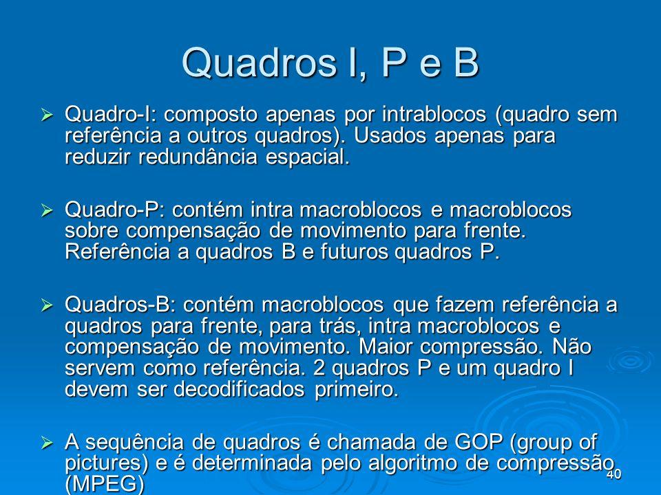 Quadros I, P e B Quadro-I: composto apenas por intrablocos (quadro sem referência a outros quadros). Usados apenas para reduzir redundância espacial.
