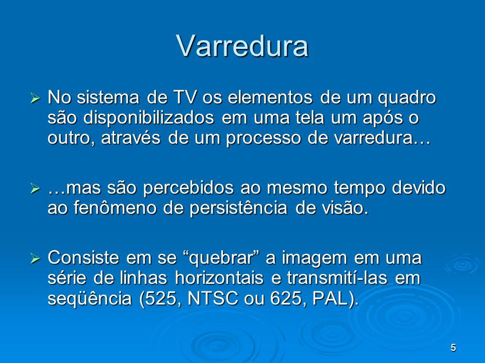 Varredura No sistema de TV os elementos de um quadro são disponibilizados em uma tela um após o outro, através de um processo de varredura…