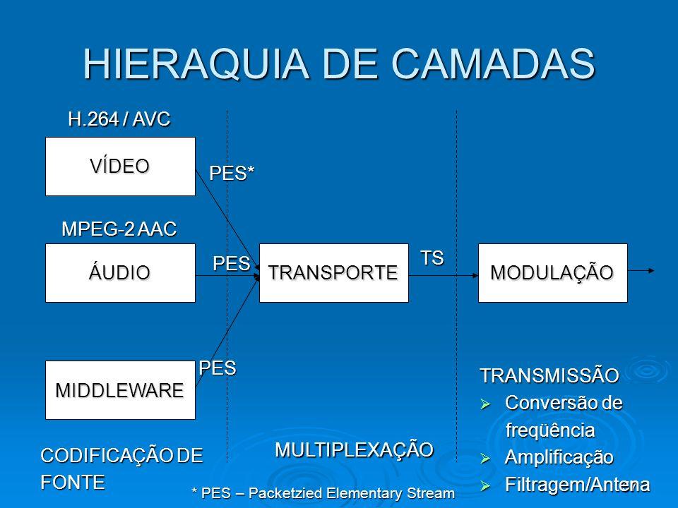 HIERAQUIA DE CAMADAS H.264 / AVC VÍDEO PES* MPEG-2 AAC ÁUDIO