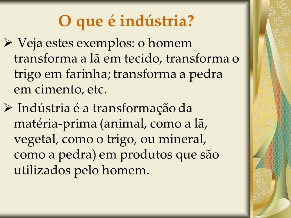 O que é indústria Veja estes exemplos: o homem transforma a lã em tecido, transforma o trigo em farinha; transforma a pedra em cimento, etc.