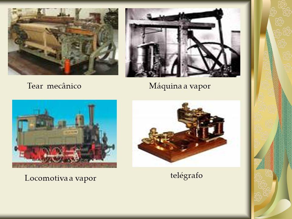 Tear mecânico Máquina a vapor telégrafo Locomotiva a vapor
