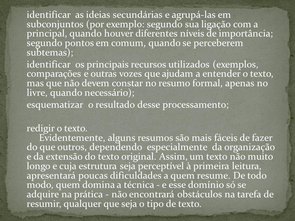 identificar as ideias secundárias e agrupá-las em subconjuntos (por exemplo: segundo sua ligação com a principal, quando houver diferentes níveis de importância; segundo pontos em comum, quando se perceberem subtemas);