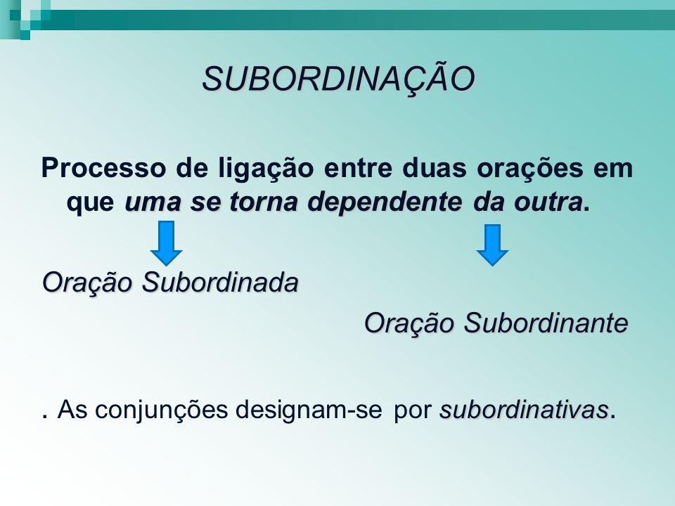 . As conjunções designam-se por subordinativas.