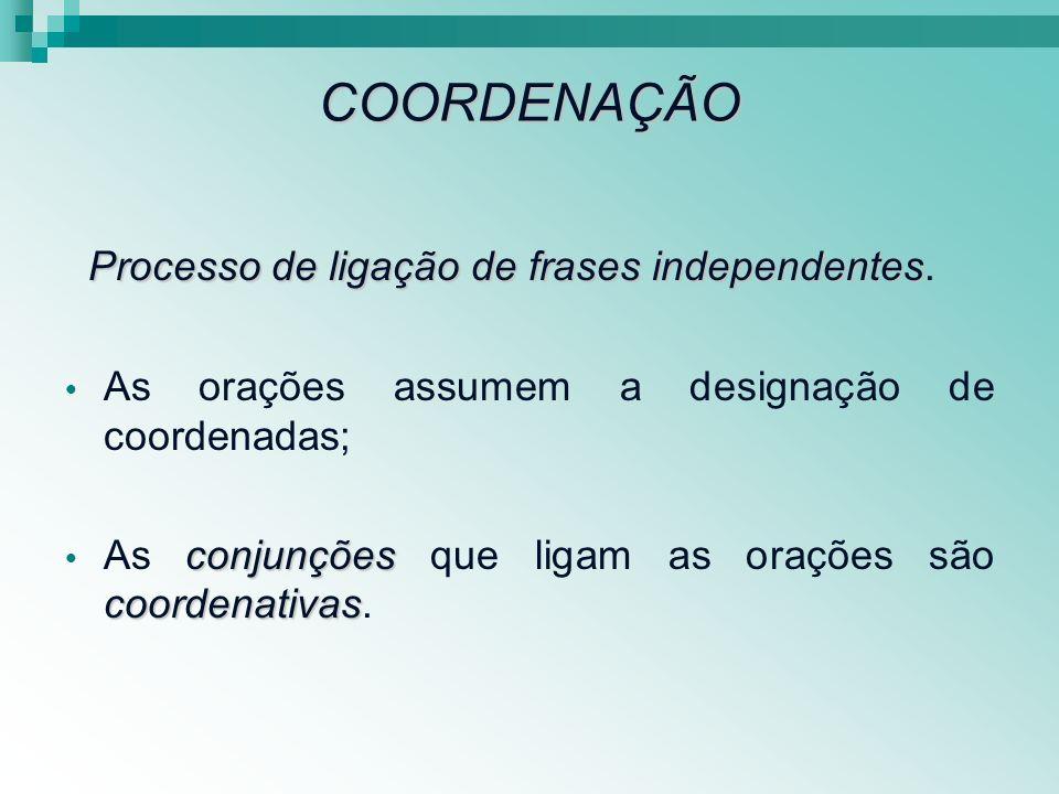 COORDENAÇÃO Processo de ligação de frases independentes.