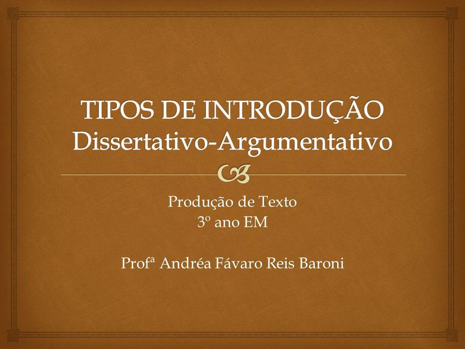 TIPOS DE INTRODUÇÃO Dissertativo-Argumentativo
