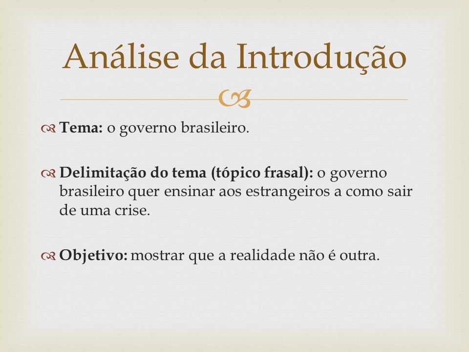 Análise da Introdução Tema: o governo brasileiro.