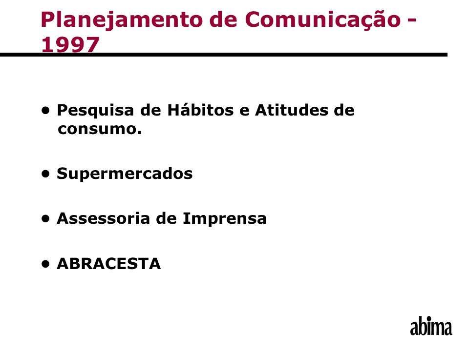 Planejamento de Comunicação - 1997