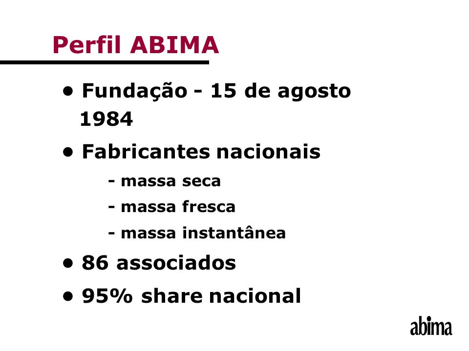 Perfil ABIMA • Fundação - 15 de agosto 1984 • Fabricantes nacionais