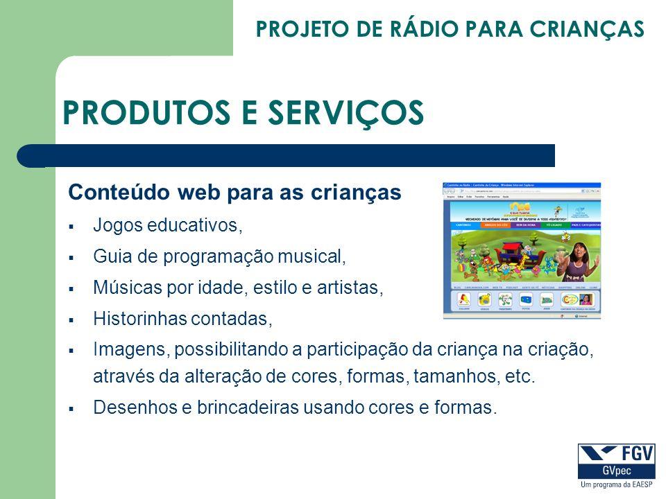 PRODUTOS E SERVIÇOS Conteúdo web para as crianças Jogos educativos,