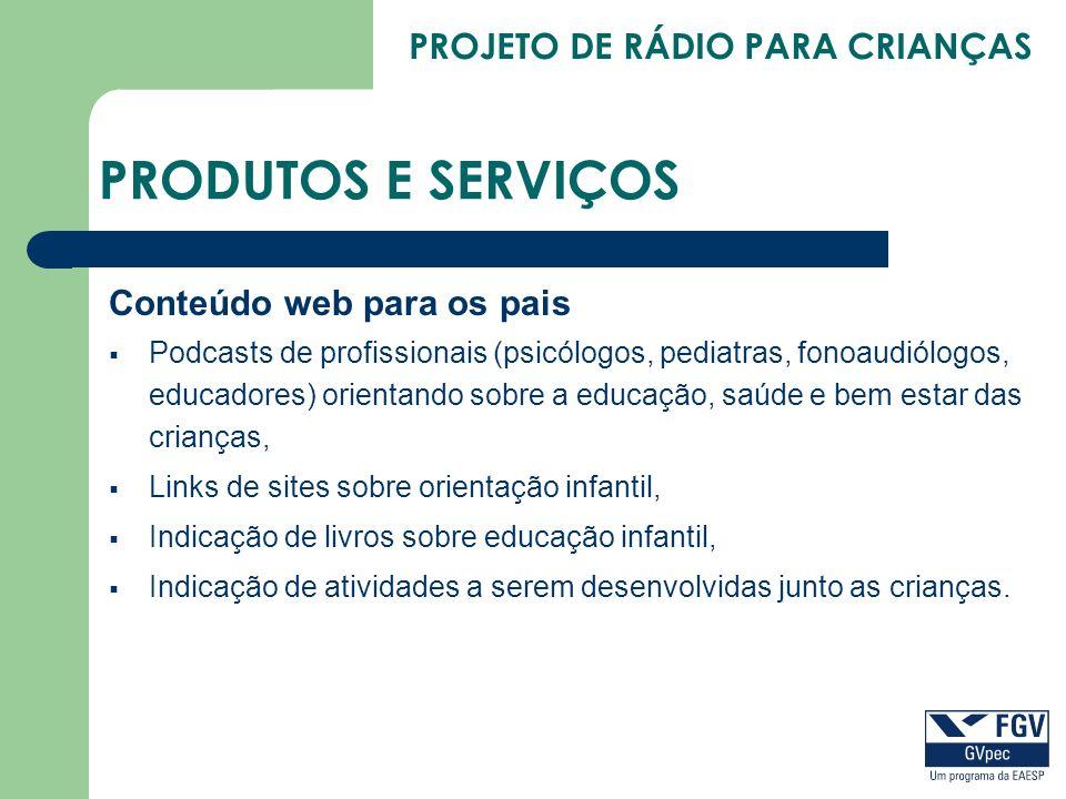 PRODUTOS E SERVIÇOS Conteúdo web para os pais