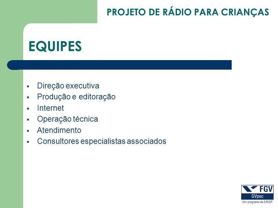 EQUIPES Direção executiva Produção e editoração Internet