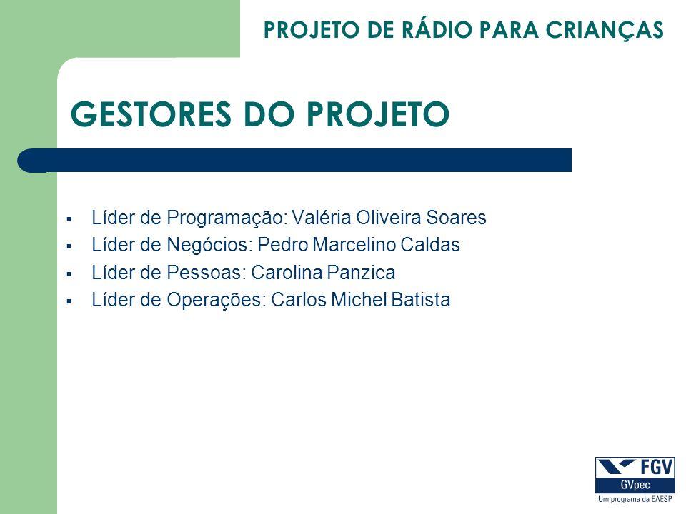 GESTORES DO PROJETO Líder de Programação: Valéria Oliveira Soares