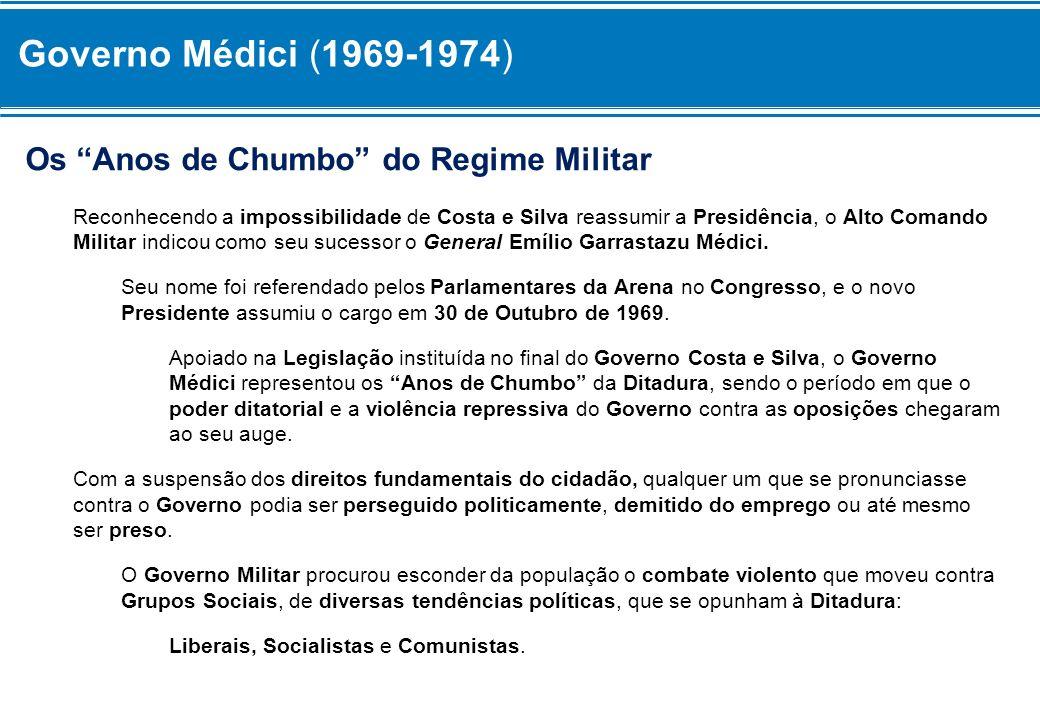 Governo Médici (1969-1974) Os Anos de Chumbo do Regime Militar
