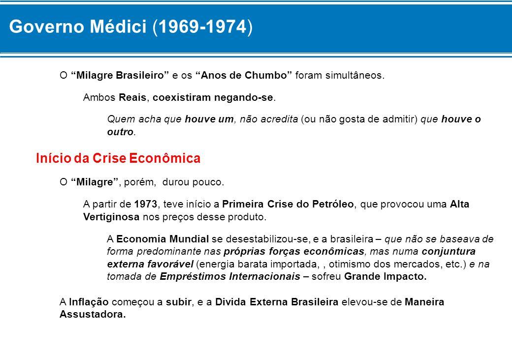 Governo Médici (1969-1974) Início da Crise Econômica
