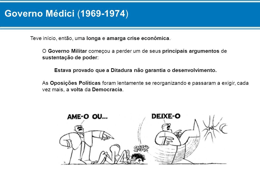 Governo Médici (1969-1974) Teve início, então, uma longa e amarga crise econômica.
