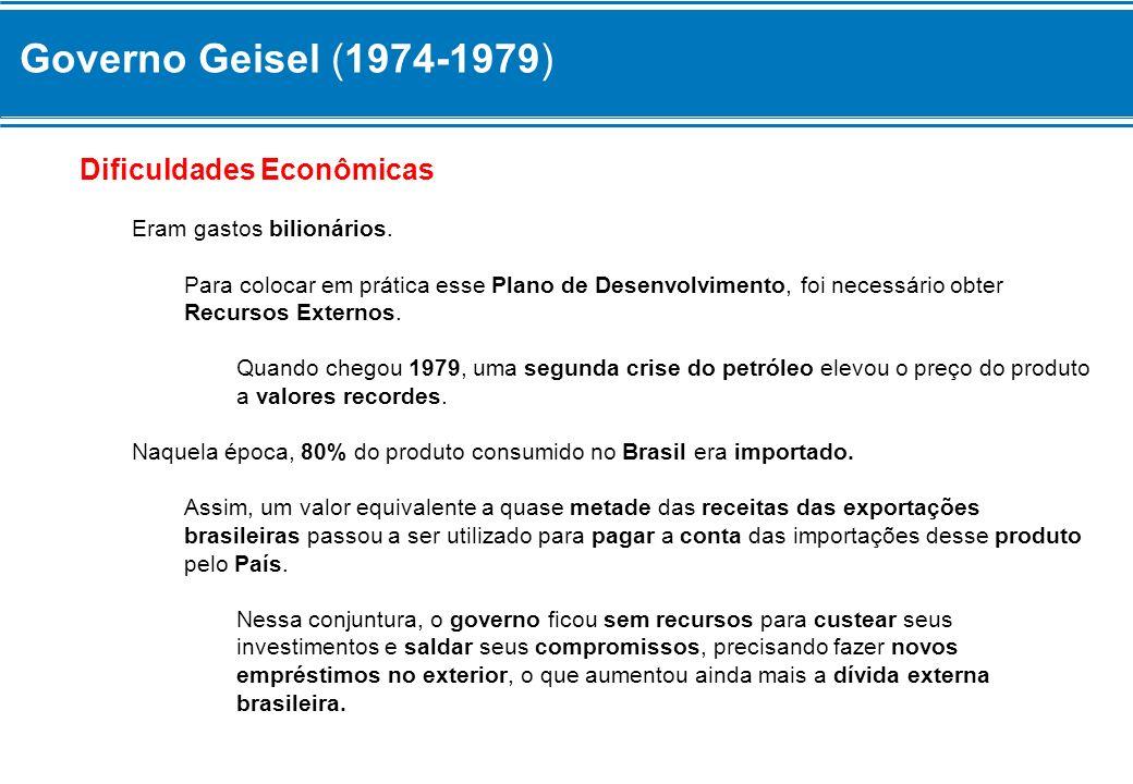 Governo Geisel (1974-1979) Dificuldades Econômicas