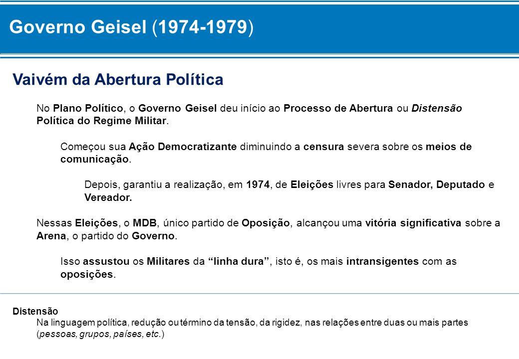 Governo Geisel (1974-1979) Vaivém da Abertura Política