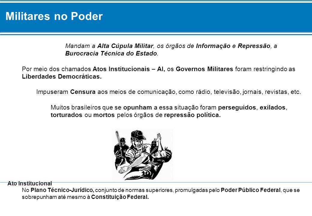 Militares no Poder Mandam a Alta Cúpula Militar, os órgãos de Informação e Repressão, a Burocracia Técnica do Estado.