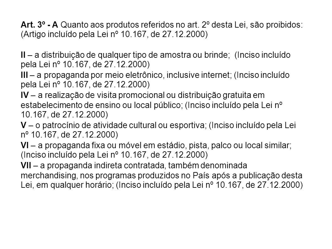 Art. 3º - A Quanto aos produtos referidos no art