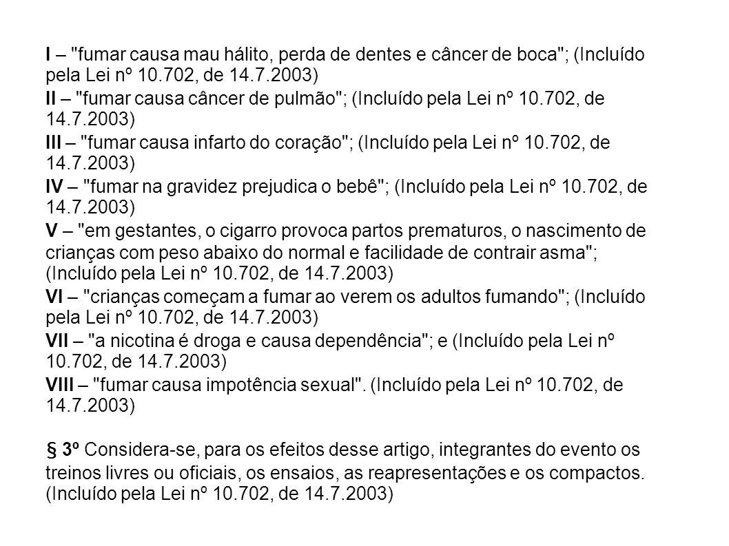 I – fumar causa mau hálito, perda de dentes e câncer de boca ; (Incluído pela Lei nº 10.702, de 14.7.2003)