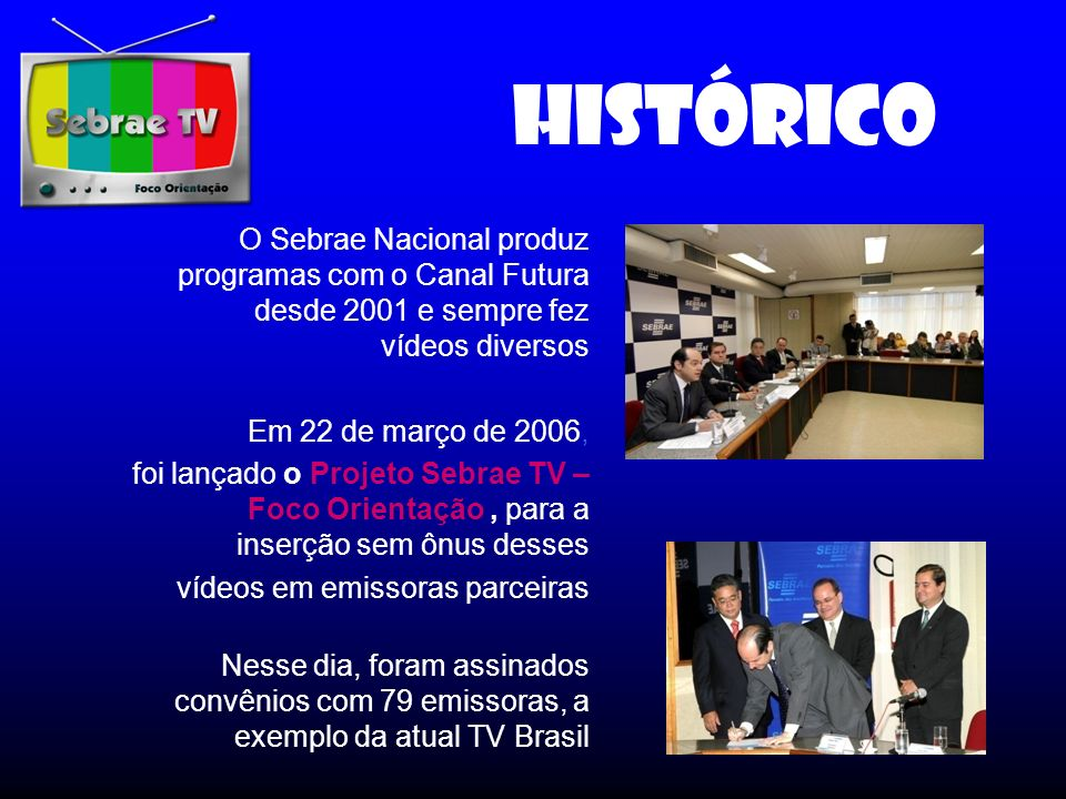 HISTÓRICO O Sebrae Nacional produz programas com o Canal Futura desde 2001 e sempre fez vídeos diversos.